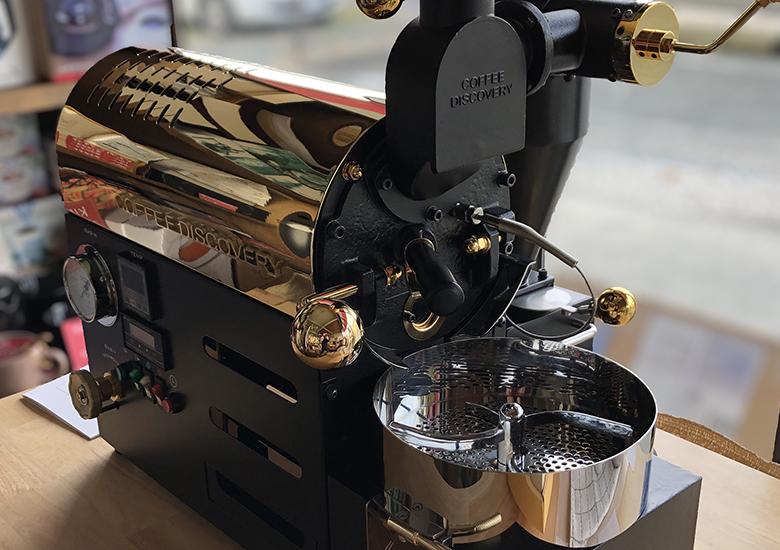 ディスカバリー小型焙煎機での体験コーヒー焙煎。